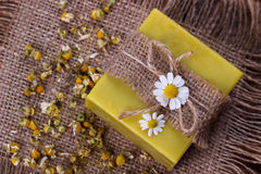 Handmade soap with chamomile Royalty Free Stock Photography