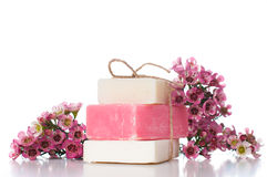 Handmade soap and cherry blossoms Stock Photography