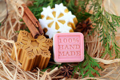 Handmade soap with cinnamon and anise star Royalty Free Stock Photos