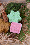 Handmade soap with cinnamon and anise star Stock Photo