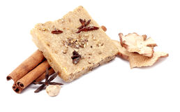 Handmade soap with cinnamon and anise star on white background Stock Image