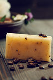 Handmade soap closeup and spa products on background Stock Photography