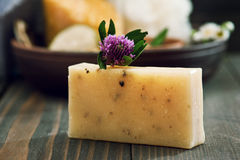 Handmade soap closeup and spa products on background Stock Image