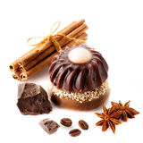 Handmade soap with coffee, chocolate and cinnamon sticks. Body care and spa. Royalty Free Stock Photo