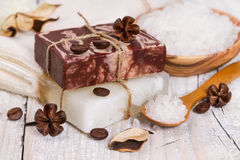 Handmade soap with coffee and dry flower. Stock Photos