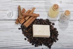Handmade soap and coffee Stock Image