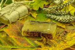 Colored autumn decoration with handmade soap Royalty Free Stock Photos
