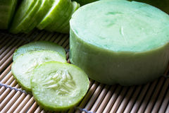 Handmade soap from cucumber Stock Images