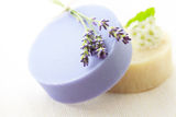 Handmade soap with flowers Stock Photo