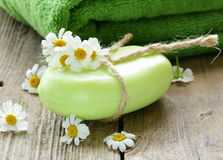 Handmade soap with flowers Stock Image