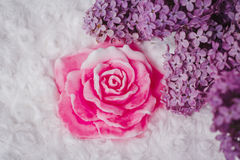 Handmade soap formed like rose Royalty Free Stock Photos