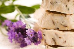Handmade Soap With Fresh Lavender Flowers Stock Images