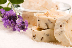 Handmade Soap With Fresh Lavender Flowers Stock Photo