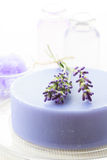 Handmade soap with fresh lavenders Stock Photography