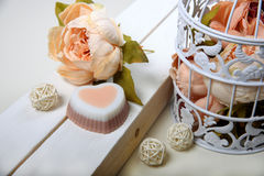 Handmade soap. Heart shaped. Pink flowers Royalty Free Stock Images