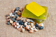 Handmade soap with herb Stock Photos