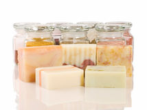 Handmade soap and herb material Stock Photography