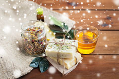 Handmade soap, honey and herbal tea on wood Royalty Free Stock Photography