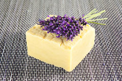 Handmade soap with lavender Royalty Free Stock Image
