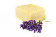 Handmade soap with lavender, isolated on white Stock Photography