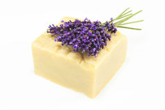 Handmade soap with lavender, isolated on white Royalty Free Stock Photos