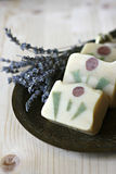 Handmade soap with lavender stock photography