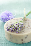 Handmade soap with lavenders Royalty Free Stock Image