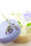 Handmade soap with lavenders and white flowers Stock Images
