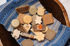 Handmade soap made with love stock images