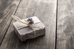 Handmade soap. Natural handmade soap over wooden background Stock Image