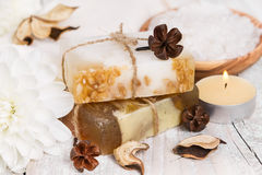 Handmade soap with oat flakes Stock Photography