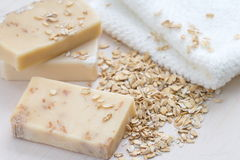 Handmade soap with oat scrub and milk Royalty Free Stock Photo