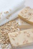 Handmade soap with oat scrub and milk Stock Photo