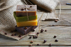 Handmade soap with roasted coffee beans Stock Photos