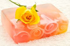 Handmade soap and rose stock photo