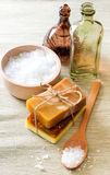 Handmade soap and sea salt Stock Photo