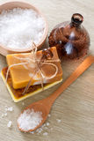 Handmade soap and sea salt Royalty Free Stock Images