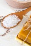 Handmade soap and sea salt Stock Photo