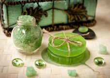 Handmade soap and sea salt to spa Stock Photo