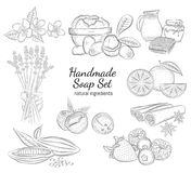 Handmade soap set. Isolated hand drawn vector illustration on white background. Organic natural healthy products. Great for banner, poster, label, package Royalty Free Stock Photography