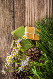 Handmade soap set on the wooden table Royalty Free Stock Photos