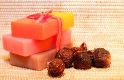 Handmade Soap and soap nuts closeup Stock Photo