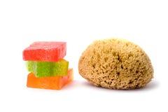 Handmade soap with sponge Royalty Free Stock Photos