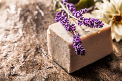 Handmade Soap with Sprig of Fresh Lavender Royalty Free Stock Photos