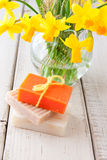 Handmade soap for spring cleaning. Royalty Free Stock Photos