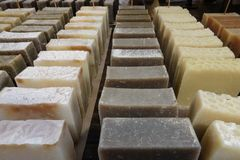 Handmade soap at a stand stock image