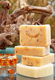 Handmade soap still life with jewelery Stock Images