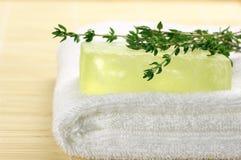 Handmade soap on towel Royalty Free Stock Photo