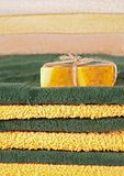 Handmade soap and towels Royalty Free Stock Image