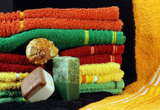 Handmade soap and towels Stock Images